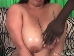 Sexy plumper Lady Spyce undresses for black guy.