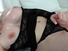 Sexy blonde chick uses vibrator to get herself off.