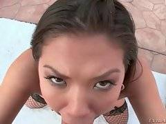 Hungry dude plants his thick cock deep into babe`s mouth.