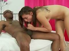 Young white slutie is jumping on thick black bone.
