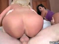 Two pretty bootylicious whores jump on dicks.