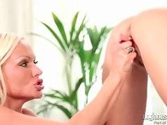 Hot looking blonde milf fucks sweet girl with toy.