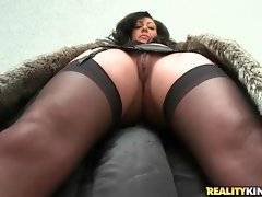 Take a look at sexy Tiffany Brooks in hot black lingerie under fur coat.
