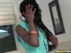 Hot looking slim black babe Jaydan Rose is in bathroom.