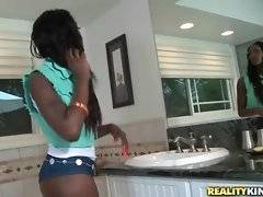 Hot looking slim black babe Jaydan Rose is in bathroom.