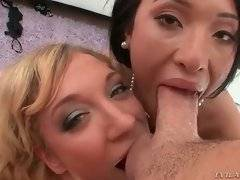 Blonde cutie and asian babe give Mike awesome blowjob.
