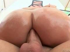 Kimmy Olsen gets her yummy round ass oiled.