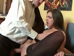 Hottie spreads legs for guy and waits to take cock inside.