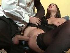 Sweetie in black stocking gets fucked from behind.
