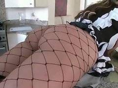 Hungry bold dude plays with maid`s ass and eggs.