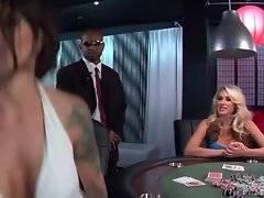 Venturesome brunette loses her boyfriend in poker.
