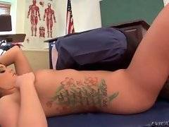 Sluty student makes professor work out her holes.