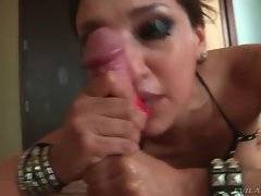 Attractive brunette knows how make guy shoot cum.