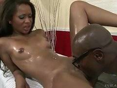 Naughty chocolate chick spreads legs for horny black man.