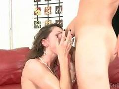 Horny fellow puts his dick from Nora`s pussy to her mouth.