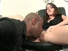 Sluty Belle-Nikole Black interviews black guy for vacancy.