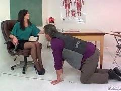This bitchy lady professor flouts her pupil`s father.