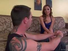 Kristina`s ex friend is aground now and she takes her chance to humiliate him.