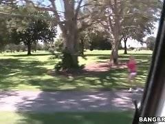 Camera man notices pretty blondie jogging.