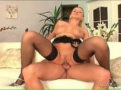 Naughty busty Natallie D`Angelo is jumping on hard dick.