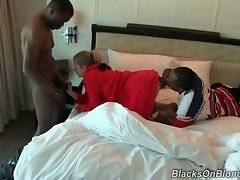 Blondie wakes up and sees two hungry black guys.