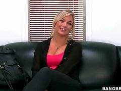 Pretty blonde dressed in a conservative way comes for audition.