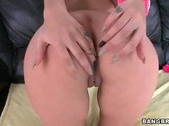Sexy Amber Cox opens her butt cheeks to show her pink love holes.