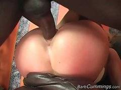 Hottie gets her pussy penetrated by black dudes.