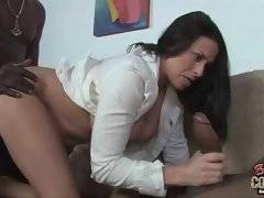 Nasty white milf skilfully works her mouth at big black cocks.