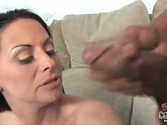 White cougar Harley Rain gets her huge boobs jizzed by black lover.