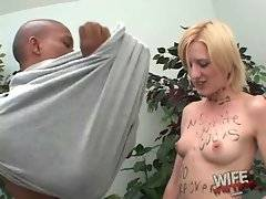 Skinny blonde slut from England enjoys thick black dick in America.