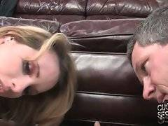 Cuckold can`t believe what he sees and babe can`t believe she has that fat dick all inside her.