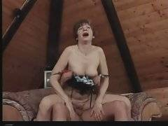 Tough dude facefucks nasty granny before she sits down on his cock.