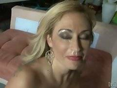 Horny milf Claudia Valentine is fucked and facecummed.