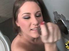 Babe likes to get fucked with black cock through the hole in the wall.