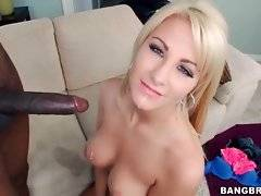 Hungry black man fucks pretty blonde and lets her taste his cum.