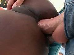 Mike likes to penetrate Coffee Brown`s tight butt hole.