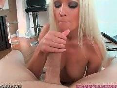 Lovely lady knows what to do with stiff erect dick.