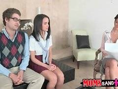 Teacher Ava Addams invites her students Dillion and Xander to discuss their homework.