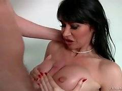 Eva Karera wraps her wet lips around his big hard dong.