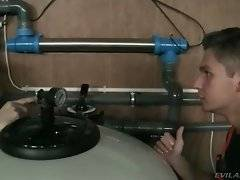 Tough plumbers hear sex sounds and decide to go and look.