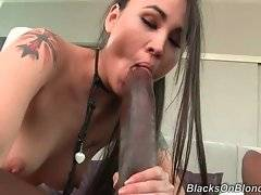 Jade sucks huge black dong and longs to feel it in her pussy.