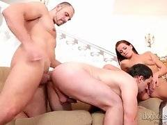 Toned guy penetrates other dude while he works his mouth at babe`s pussy.