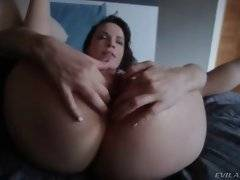 Nasty Dana attacks James cock with her mouth after thorough anal.