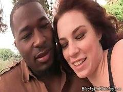 Aubrey James allows her black boyfriend to cum on her face as a present for theiy anniversary.