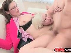 Mature Samantha Ryan loves to feel Michael Vegas`s stiff young dick in her pussy.