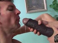 Riley wants her white toy boy show her how he sucks big black cock.