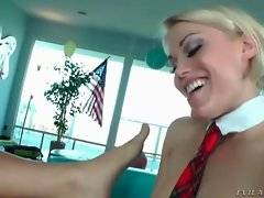 Ash fucks her submissive and pleases herself with vibrating wand.