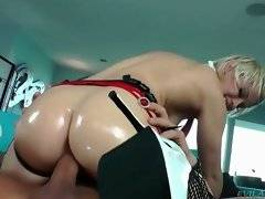 Blond babe is going to please her submissive with some hot cock riding.
