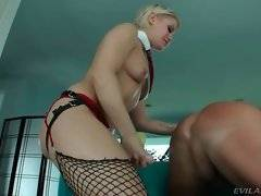 Ash makes Christian asshole ready for her large strap-on dildo.